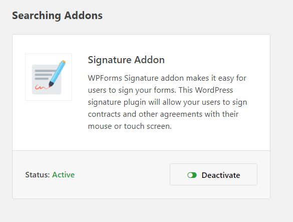 signature add-on enabled