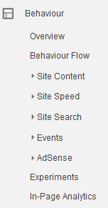 Analytics Behaviour Menu