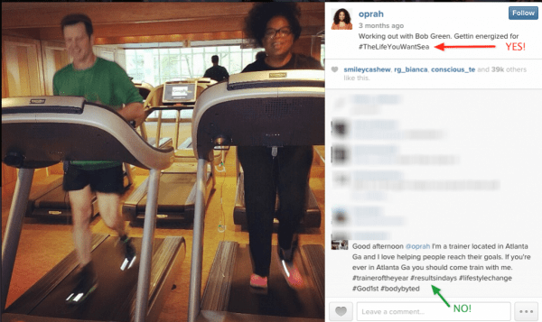 Oprah uses just one hashtag to promote her upcoming cruise. But the commenter