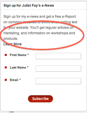 Example email sign up form mentioning promotions as well as information