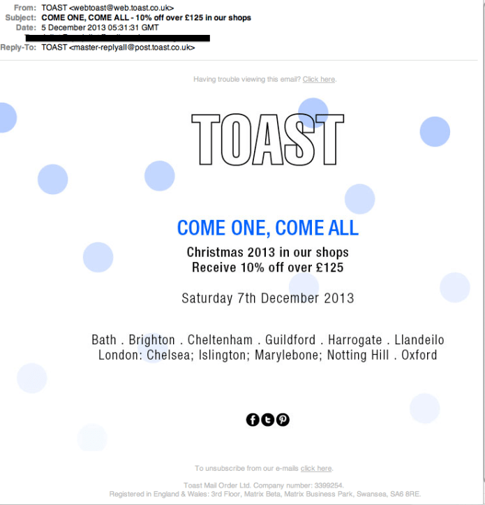 Email from Toast, a simple nudge - a good part of your email marketing strategy