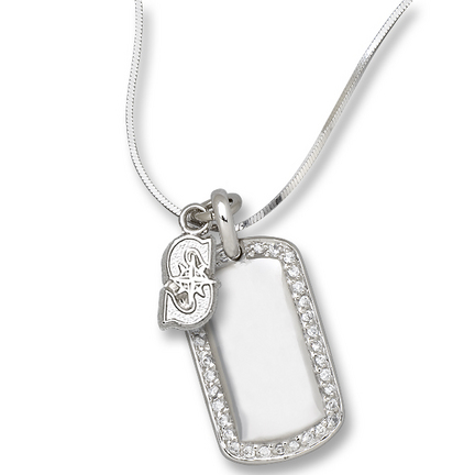 """Seattle Mariners 3/8"""" """"S"""" on Sterling Silver Mini Dog Tag Necklace"""