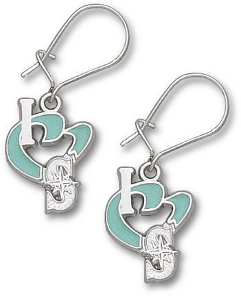 """Seattle Mariners 1/2"""" """"I Heart S"""" Enamel Dangle Earrings - Sterling Silver Jewelry"""