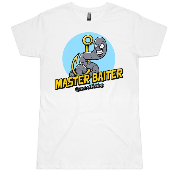 Master Baiter Queen of Fishing Ladies T Shirts