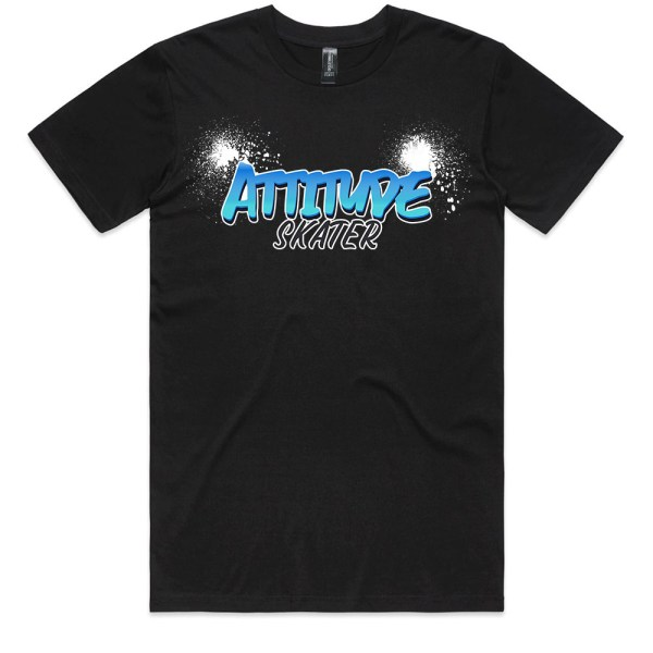 Attitude Skater Logo Men Black T Shirts