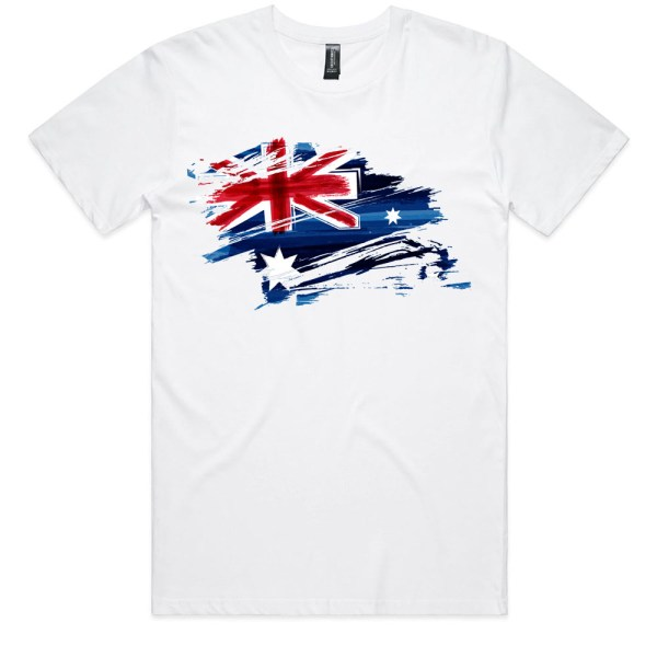 Australia Flag Art Men White T Shirts