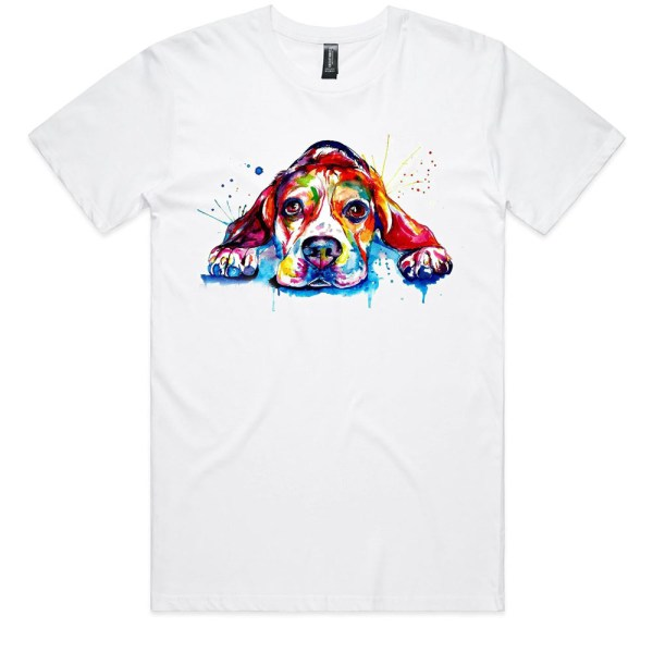 Beagle Rainbow Splash Men White T Shirts