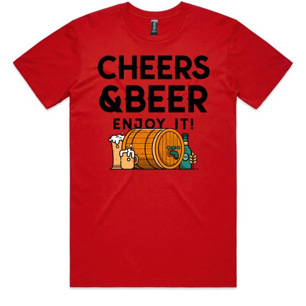 Cheers and Beers Men Red T Shirts