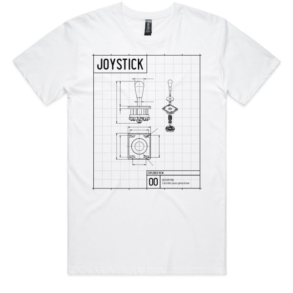 Joystick Blue Print Men White T Shirts