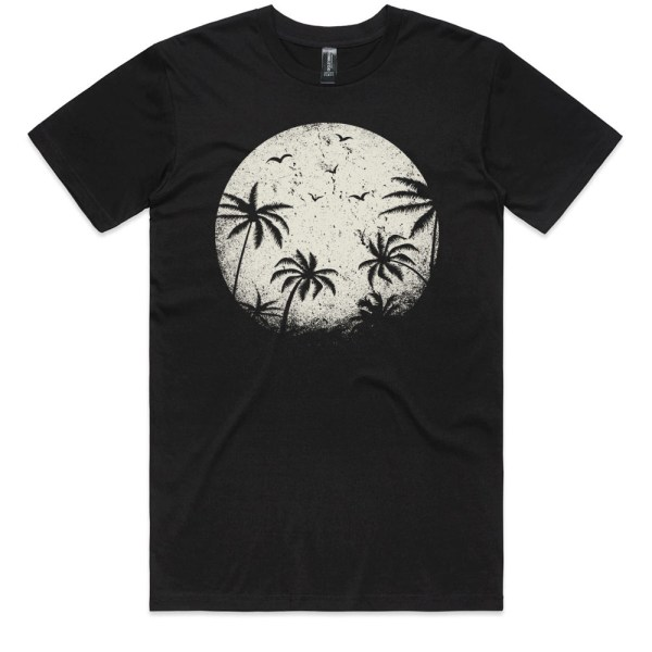 Palm Trees in the Moonlight Men Black T Shirts