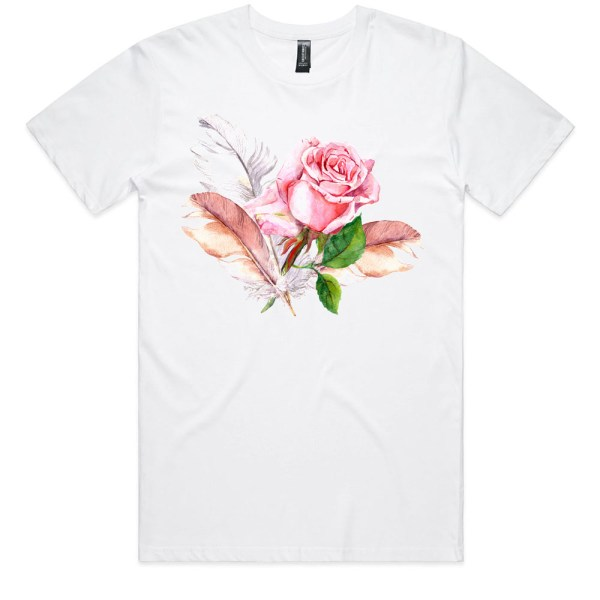 Rose and Feathers Men White T Shirts