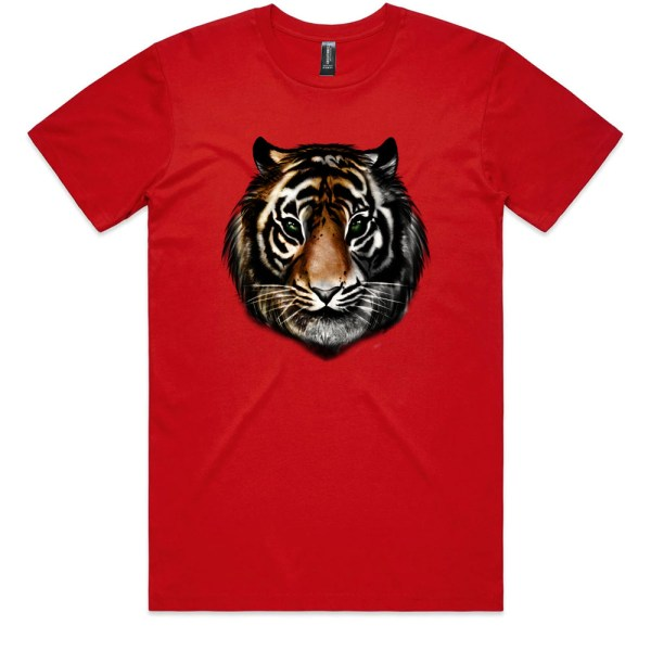 Tiger Head Colour Men Red T Shirts