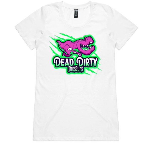 Dead Dirty Dinosaurs 003 Ladies White T Shirts