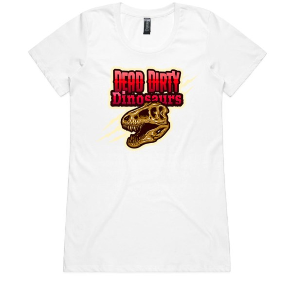 Dead Dirty Dinosaurs 008 Ladies White T Shirts