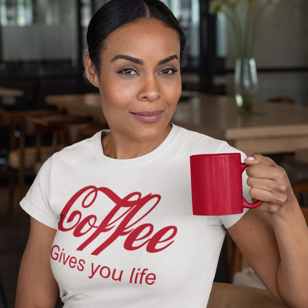 COFFEE GIVES YOU LIFE LADIES T SHIRT