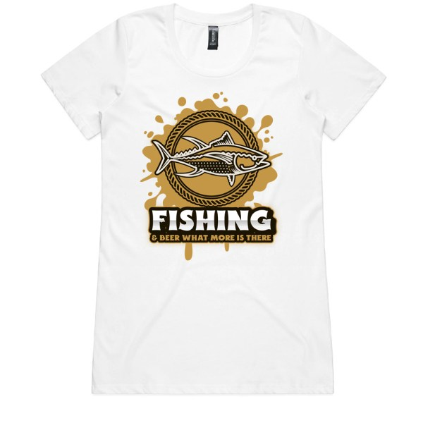 Fishing and Beer Ladies White T Shirts