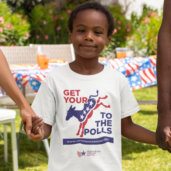 Democrats Abroad Ass to the Polls Kids T Shirts