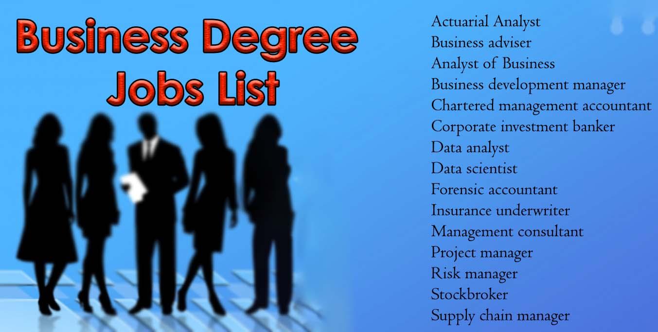 business degree jobs list
