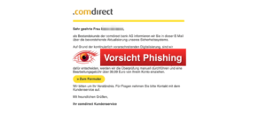 Comdirect Phishing aktuell Umstellung auf das mTan-Verfahren