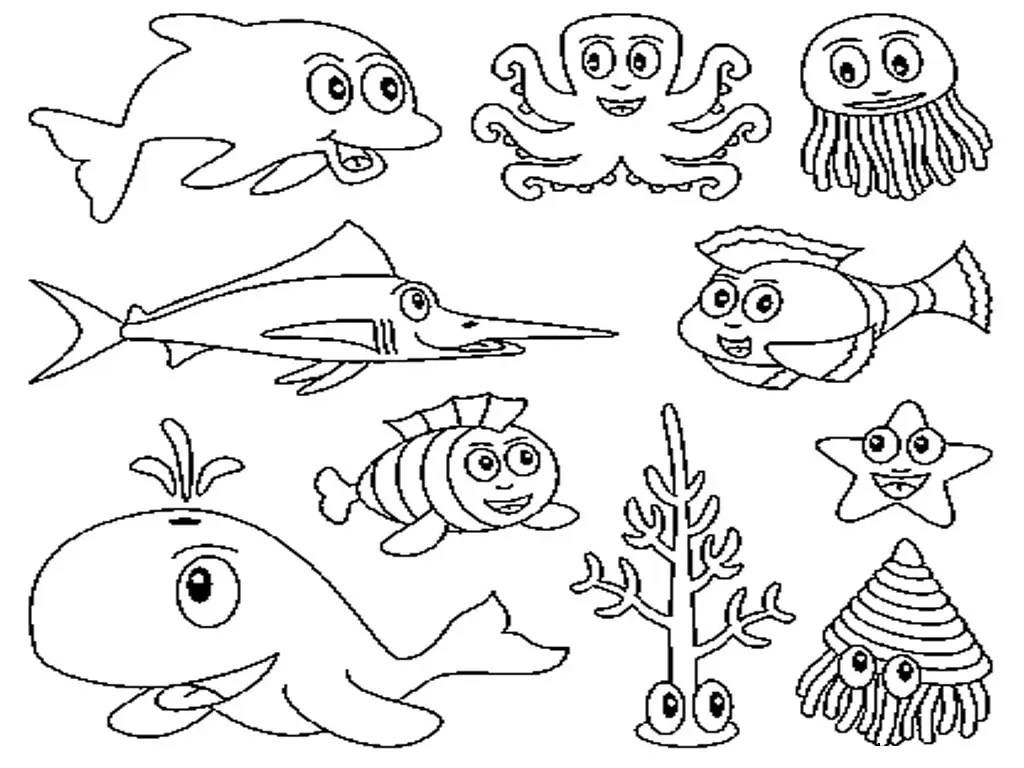 cute ocean animal coloring pages only coloring pages