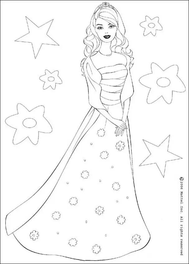 free cute disney barbie coloring pages for girls