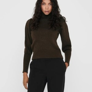 ONLBRANDIE L/S ROLL NECK PULLOVER KNT - CHICORY COFFEE