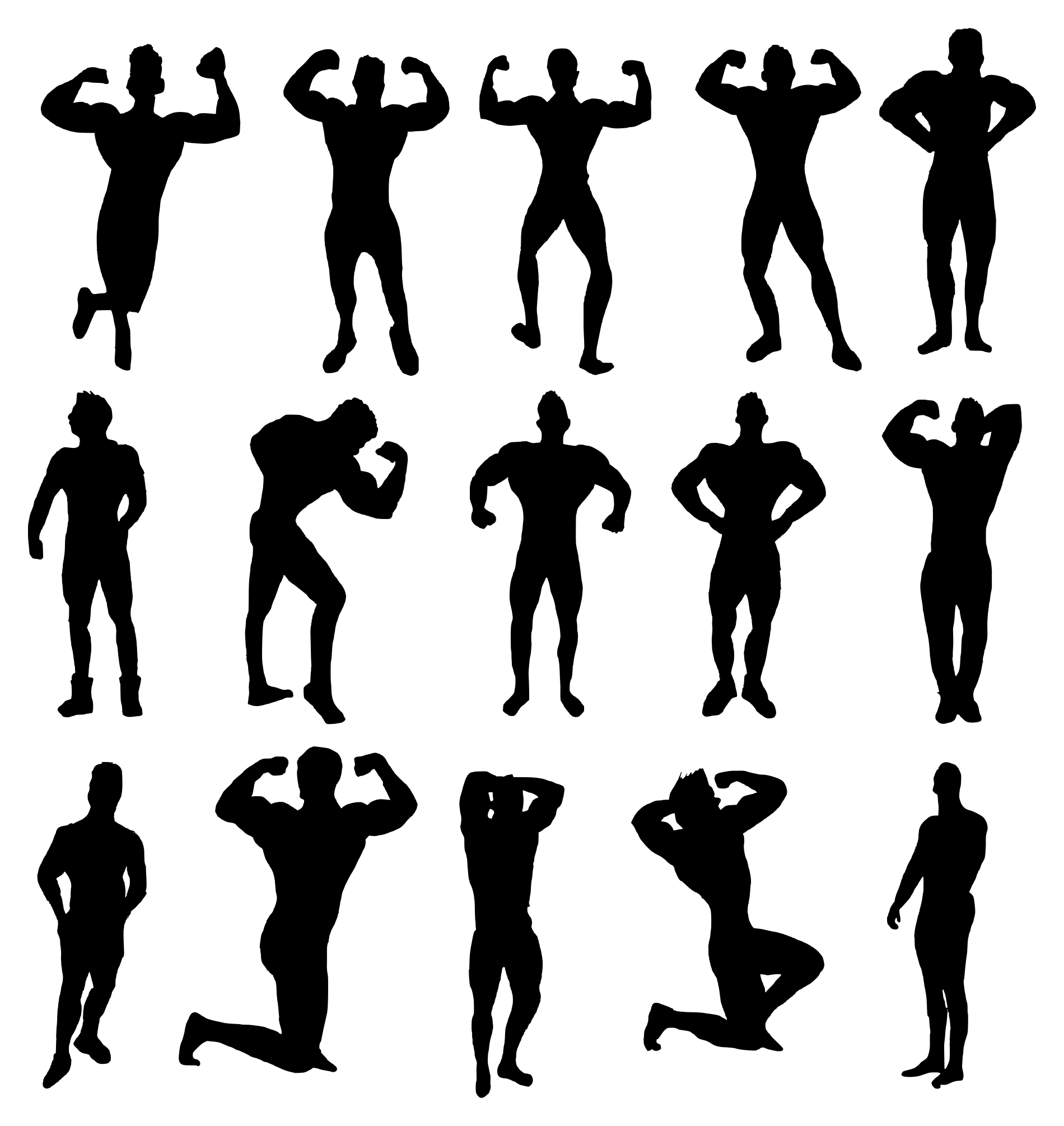 15 Muscle Man Body Builder Silhouette Transparent