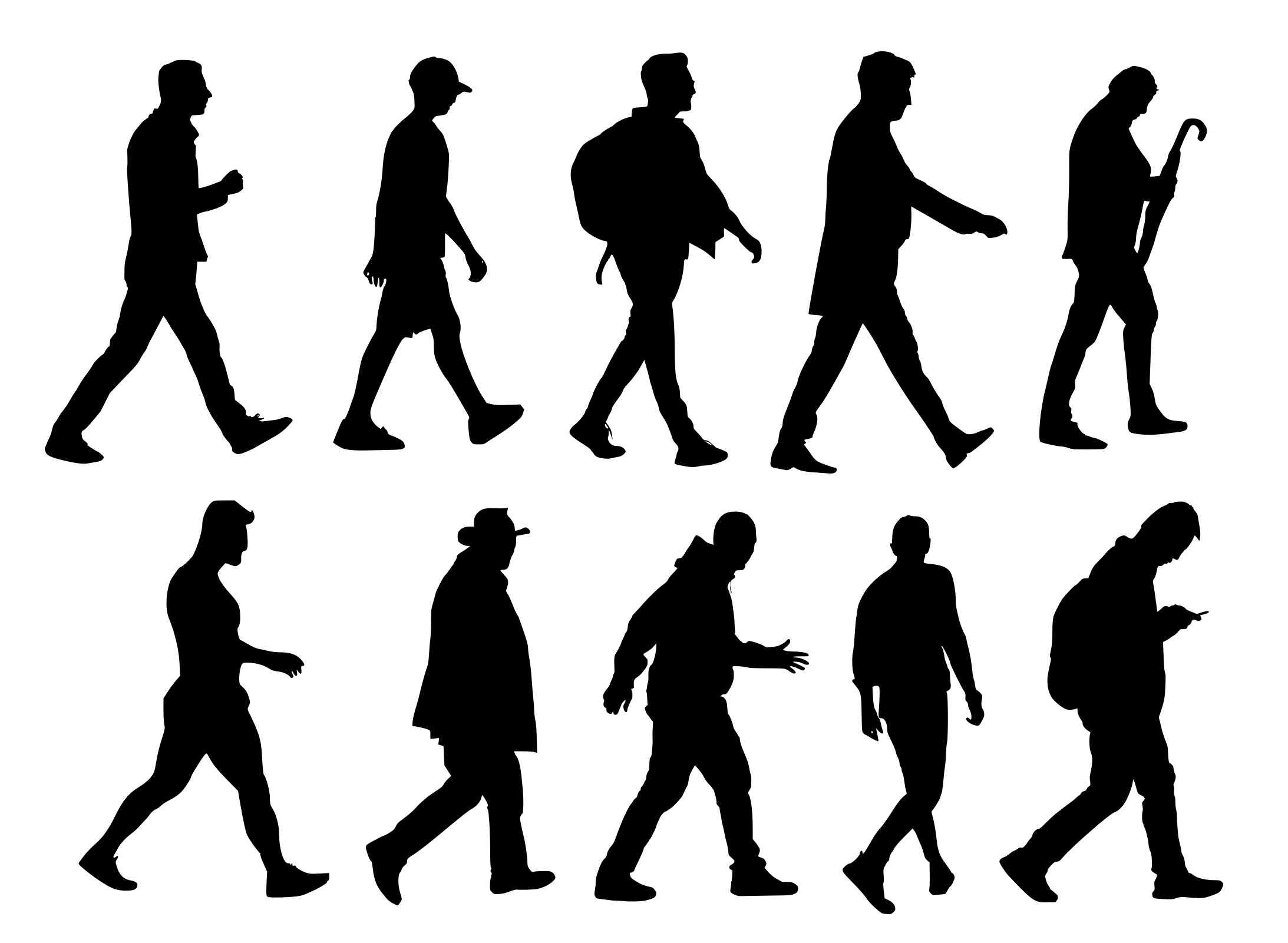 10 Man Walking Silhouette Transparent