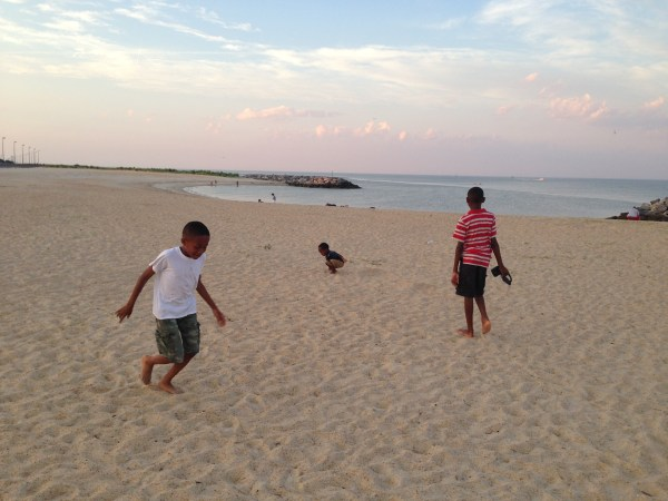 kids running on beach