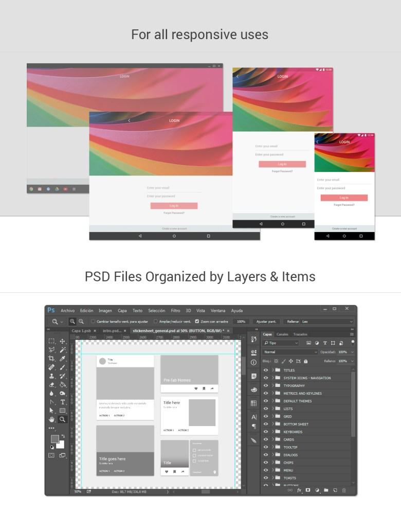 Huge Material Design GUI Kit intro