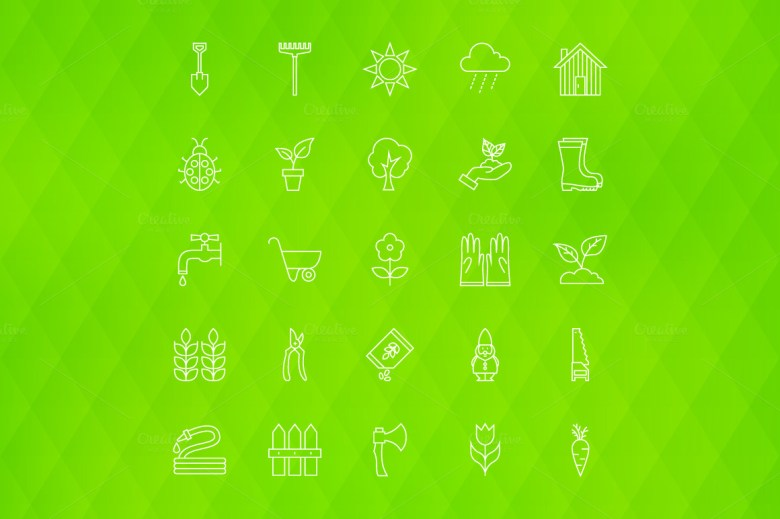 Garden Line Art Icons 04