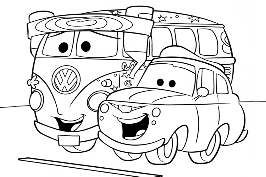 coloring in cars coloring pages from the 2 disney movies