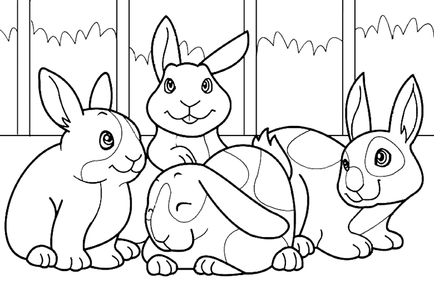 rabbit cuties colouring pages page 2