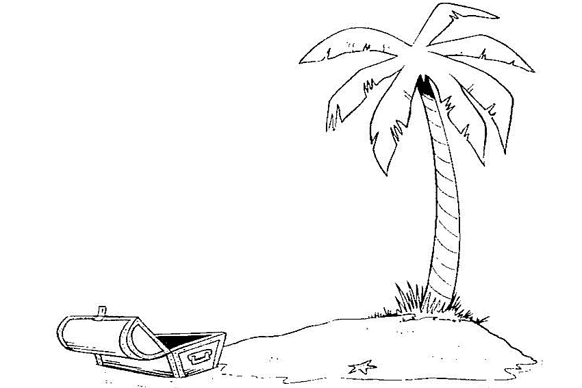 beach coloring page cheers sun or rain palmtree with a treasure
