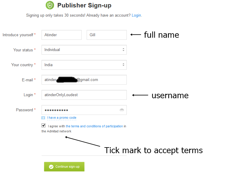 Sign up with admitad