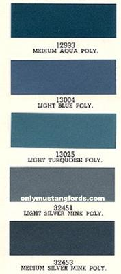 1966 Ford Mustang Interior Paint Color Codes Chart