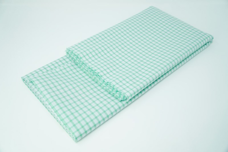 green on white check cotton face mask material