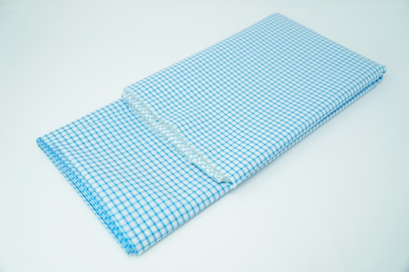 aqua blue on white check cotton face mask material