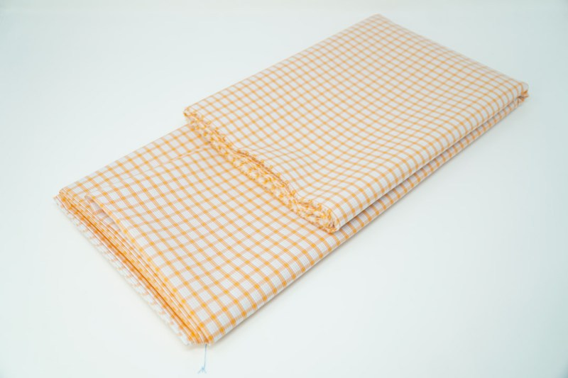 orange on white check cotton face mask material