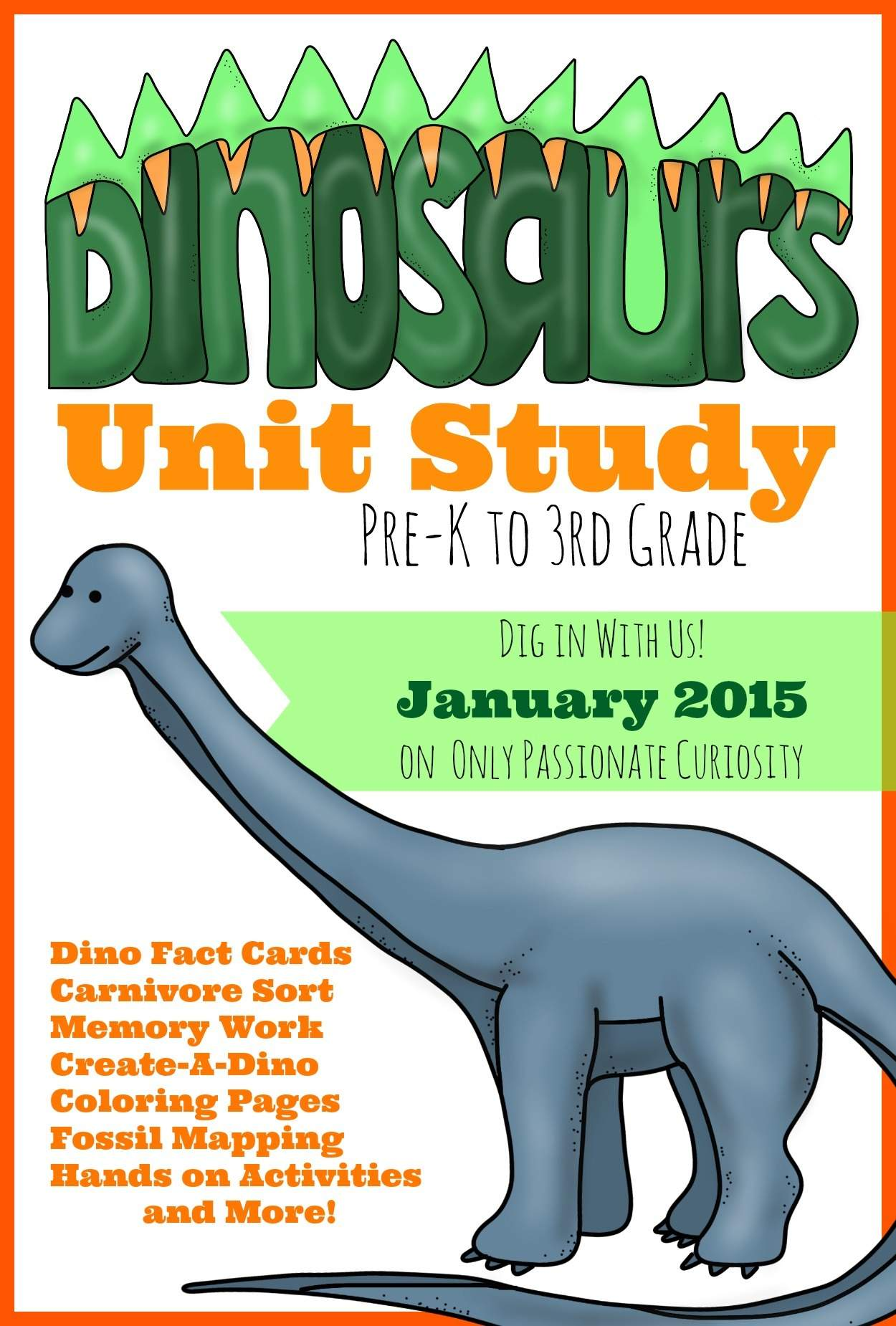 Dino Unit Study Dinosaur Coloring And Copywork Only