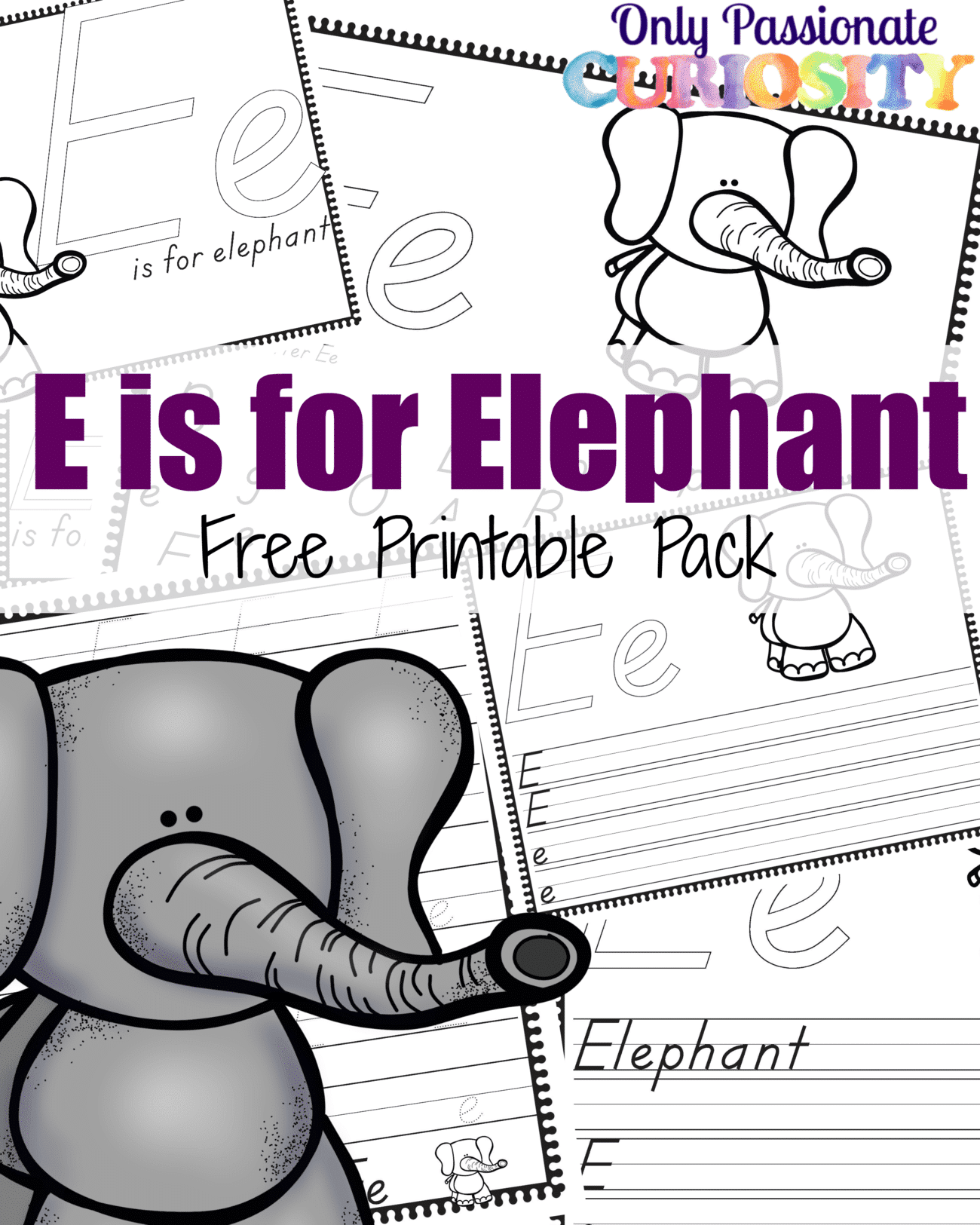 E Is For Elephant Handwriting Activity Pack