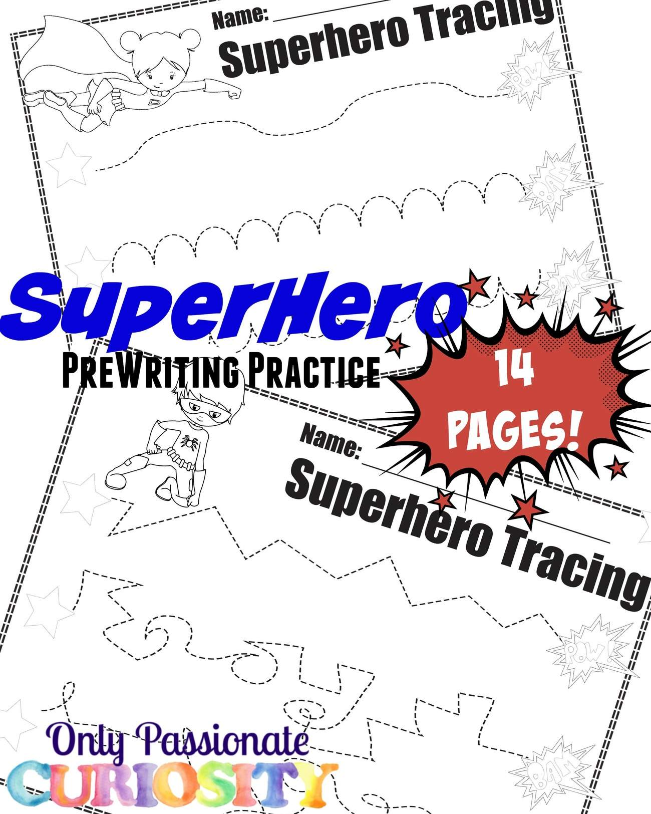 Super Hero Pre Writing Pack Only Passionate Curiosity