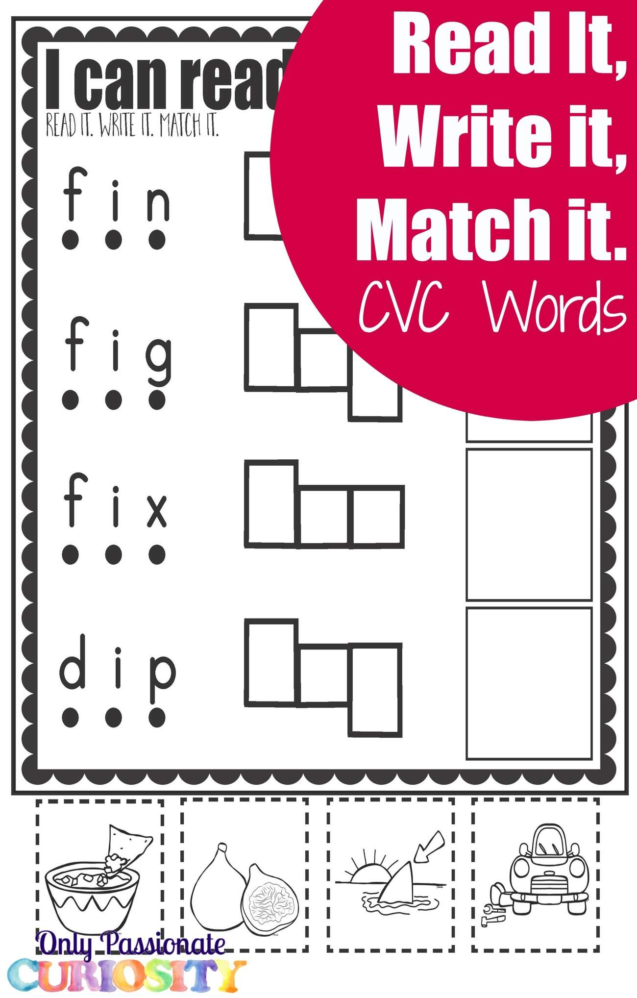 Cvc Worksheets Cut And Paste Letter I Only Passionate
