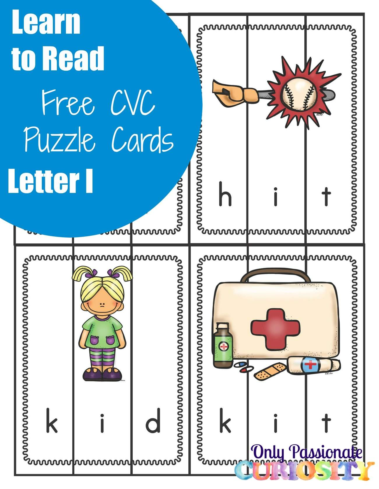Learn To Read Cvc Puzzles With The Letter I Only