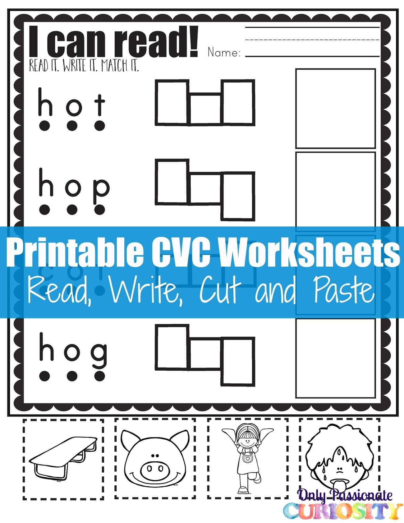 Cvc Worksheets Cut And Paste Letter O Only Passionate Curiosity