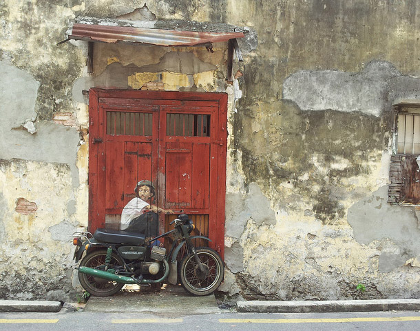 "Penang Street Art, ""Boy on a Bike"" Mural, Ah Quee Street, George Town, Penang"