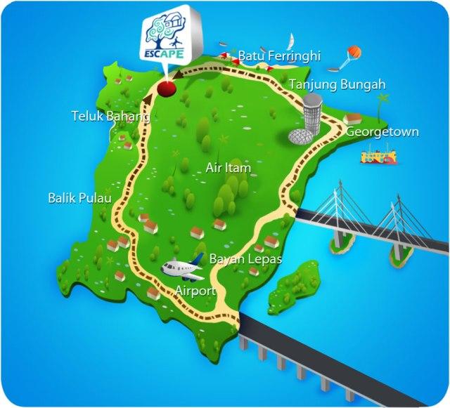 Penang Escape Theme Park Location Map