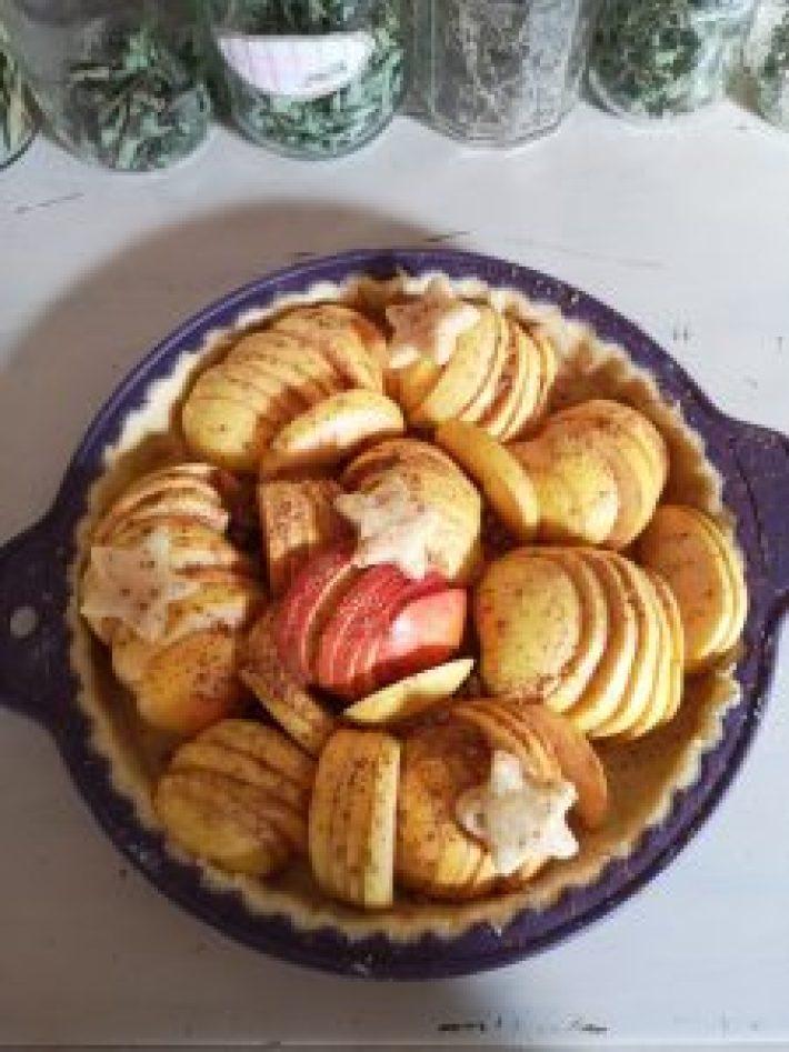Pâte brisée utilisée pour faire une tarte aux pommes