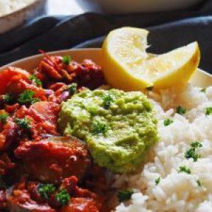 résultat de la recette du chili sin chili sin carne accompagné de guacamole