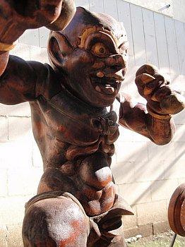 Modern Wood Statue of Raijin by LA Artist David Bilbrey